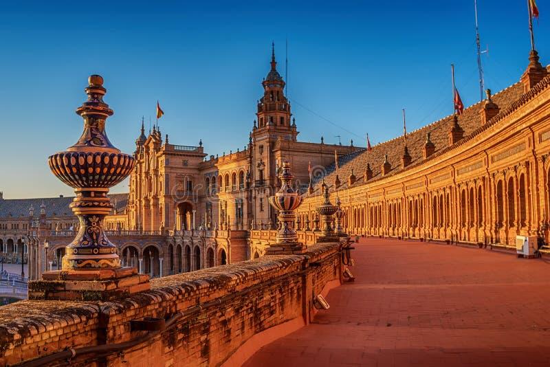 塞维利亚,西班牙:广场de西班牙,西班牙广场 库存照片