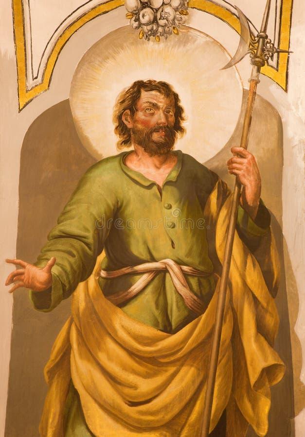 塞维利亚-圣马赛厄斯壁画传道者卢卡斯瓦尔德斯(1661 - 1725)在教会Iglesia de圣玛丽亚马格达莱纳里 免版税库存照片