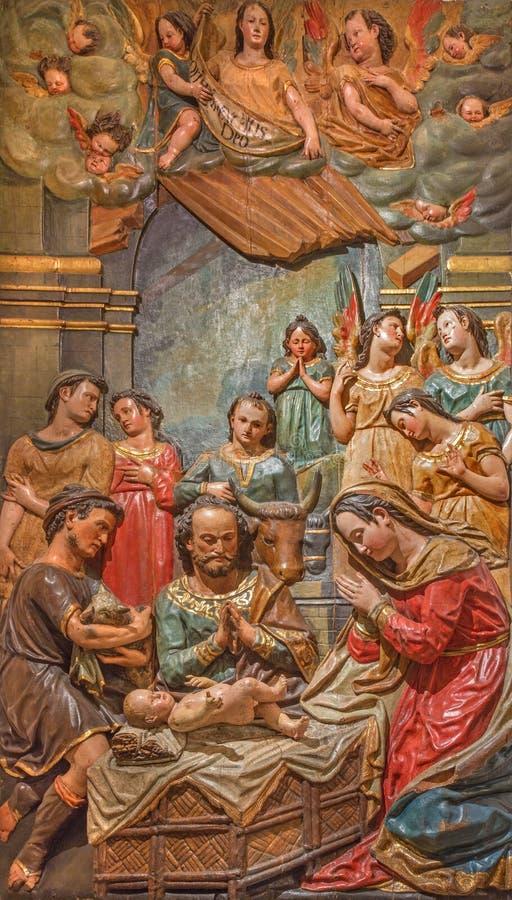 塞维利亚-牧羊人的崇拜的巴洛克式的多彩安心在萨尔瓦多(Iglesia del萨尔瓦多)的教会里 免版税库存照片