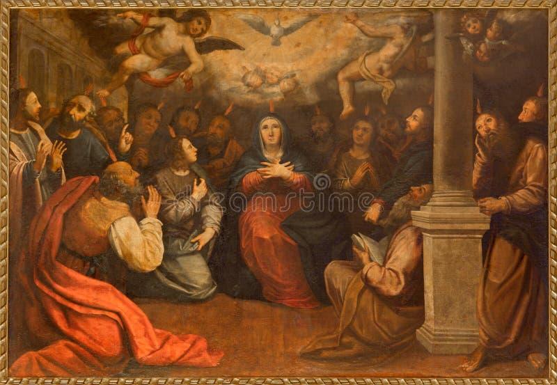 塞维利亚- Pentecost油漆在教会Iglesia由未知的画家的de圣罗克(Roch)里 库存照片