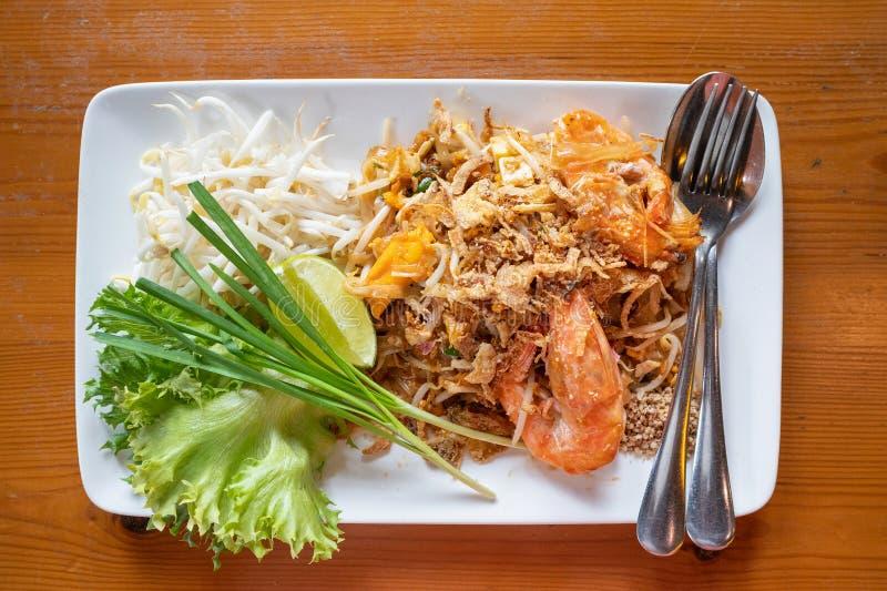 填塞泰国,混乱油煎的米线用水大虾 图库摄影