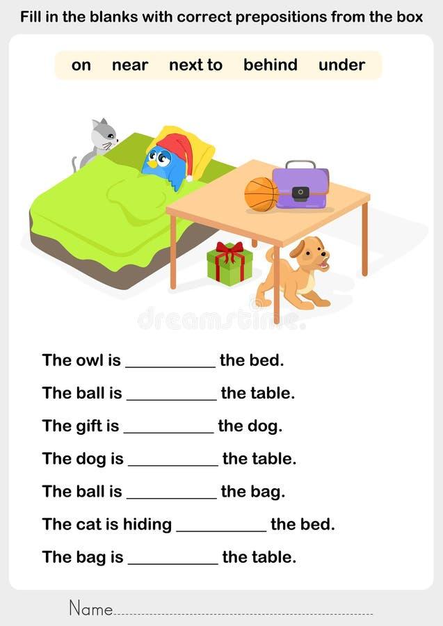 填空与正确介词 向量例证