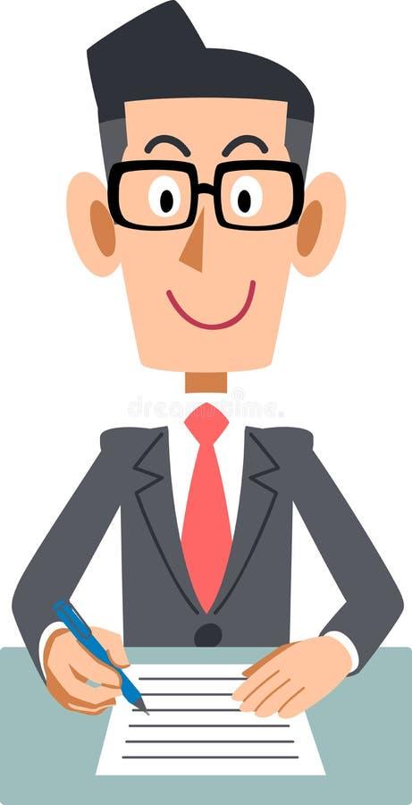 填装在文件的男性办公室工作者 向量例证