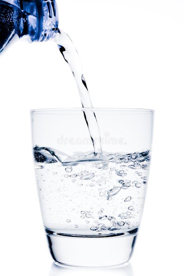 填装玻璃用水低谷蓝色瓶 免版税库存照片
