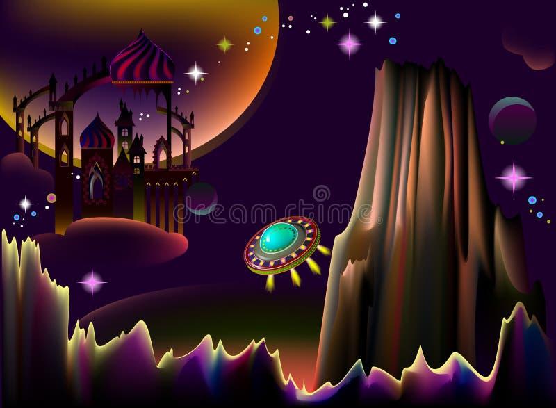 仙境幻想与飞碟的空间风景的例证 库存例证