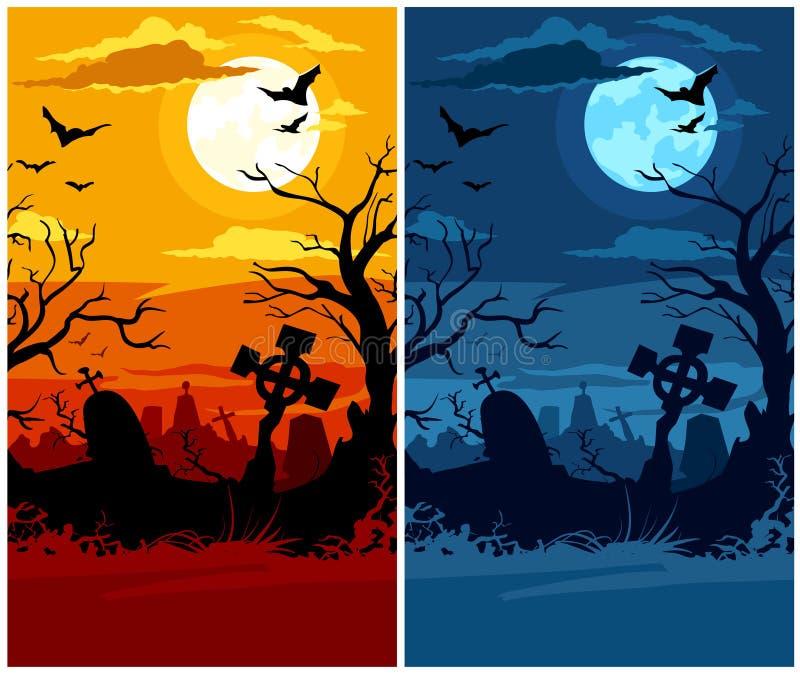 墓地万圣节月亮可怕晚上的日落 库存例证