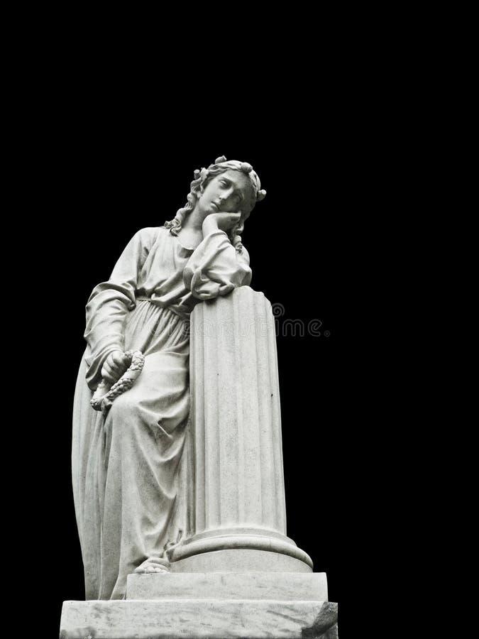 墓地世纪女性悲哀的第十九个雕象 库存照片