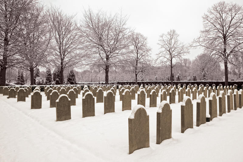 墓地军人下雪 免版税库存照片