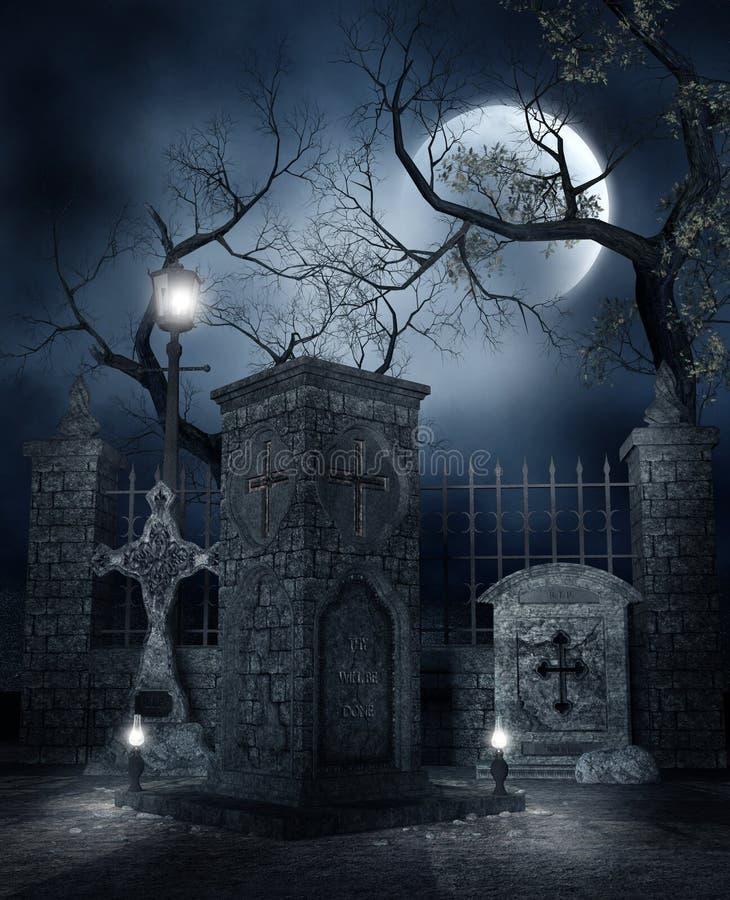 墓地晚上 库存例证