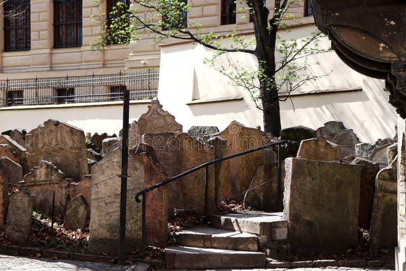 墓地犹太老布拉格 库存照片