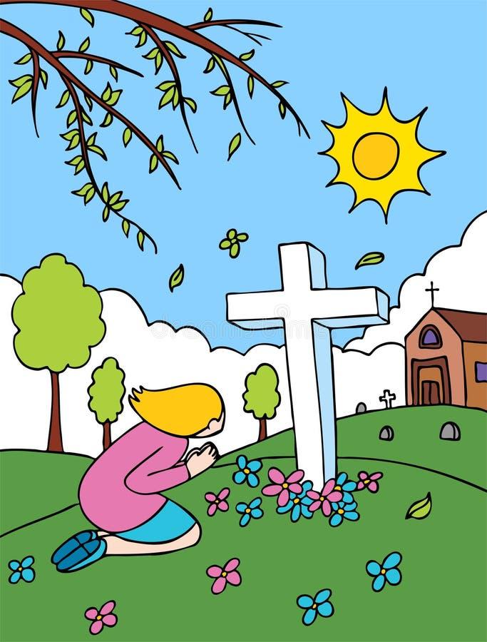 墓地祈祷 向量例证