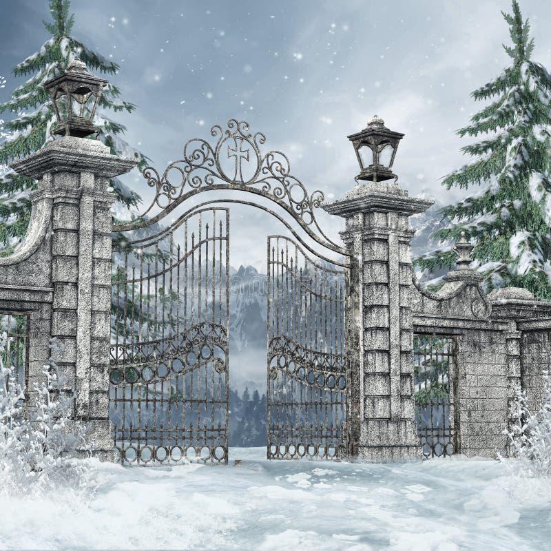 墓地门在冬天森林里 皇族释放例证