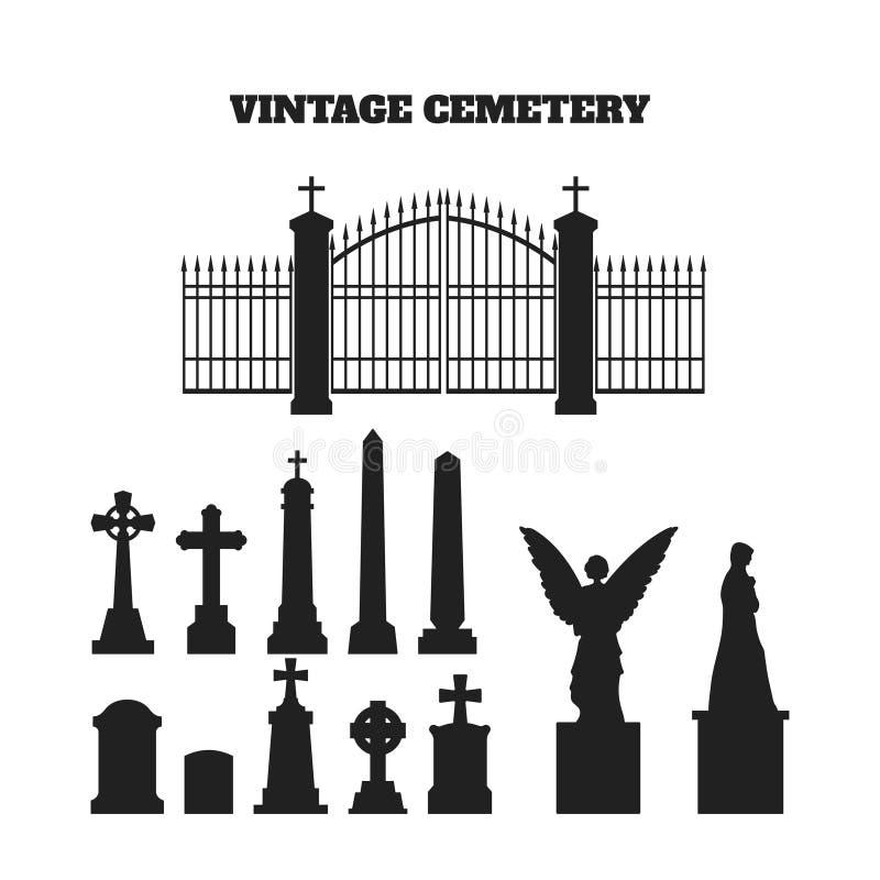 墓碑、十字架和墓碑黑剪影  公墓的元素 向量例证