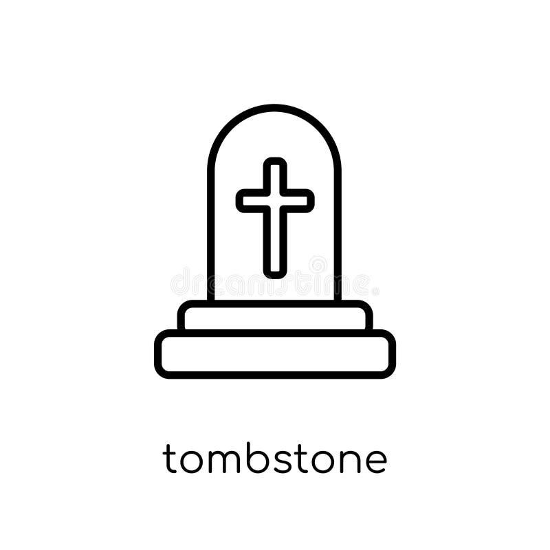 墓碑象 时髦现代平的线性传染媒介墓碑象 向量例证