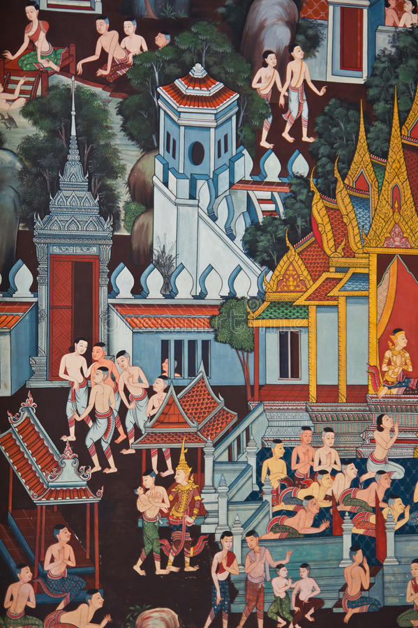 墙壁上泰国传统 皇族释放例证
