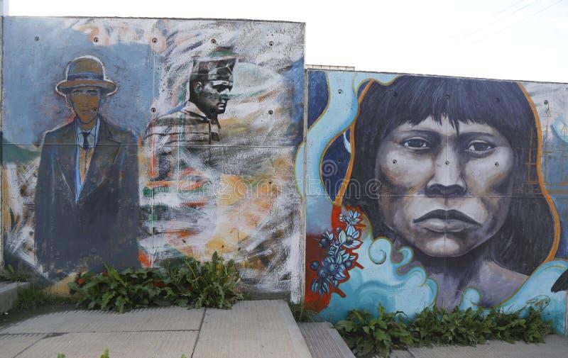 墙壁上的艺术在乌斯怀亚,阿根廷 免版税库存图片