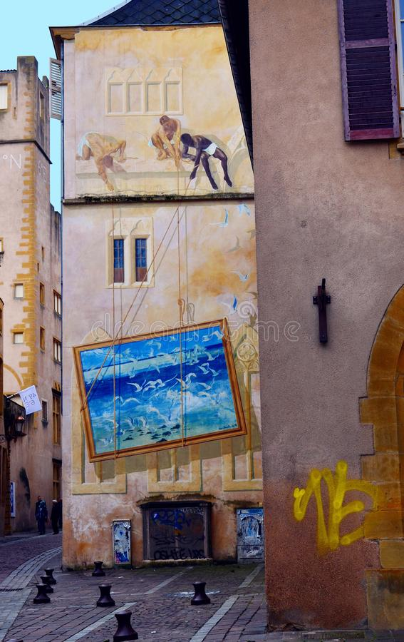墙壁上的艺术在法国的北部的梅茨 库存图片