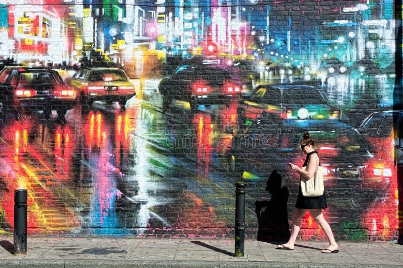 墙壁上的街道艺术场面 免版税图库摄影