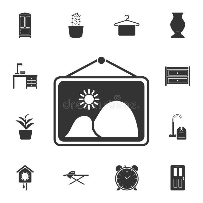 墙壁图片象 简单的元素例证 墙壁图片从家庭家具汇集集合的标志设计 能为网使用 向量例证