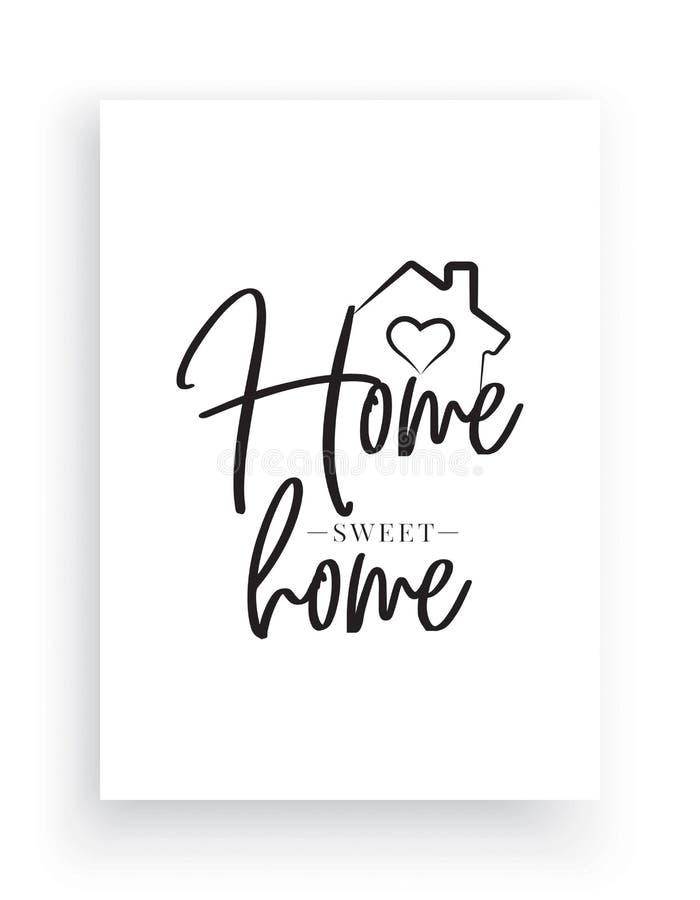 墙壁标签导航,家庭甜家,有心脏例证的议院,措辞设计,书信设计,艺术装饰 库存例证