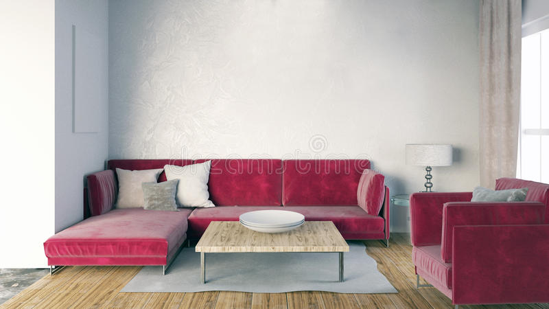 墙壁的嘲笑在与沙发的内部 客厅现代样式 皇族释放例证