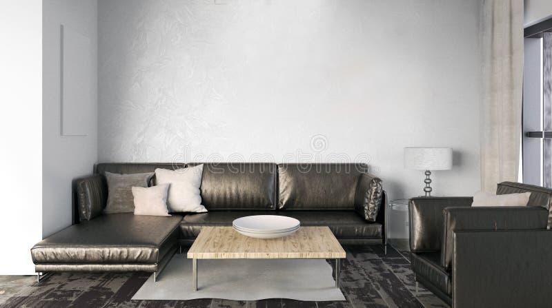 墙壁的嘲笑在与沙发的内部 客厅现代样式 3 向量例证