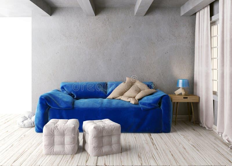 墙壁的嘲笑在与沙发的内部 客厅行家样式 皇族释放例证