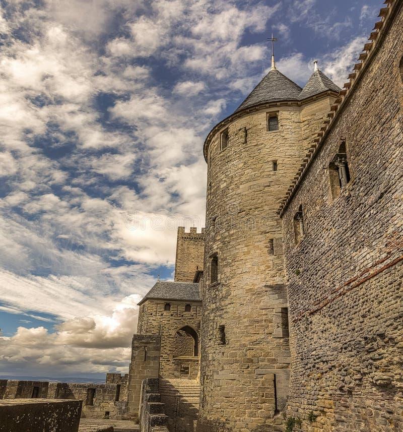 墙壁的图象在卡尔卡松加强了镇在法国 库存照片