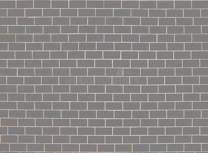 墙壁的砖接近的模式 灰色表面背景 块和水泥建筑 抽象砖砌纹理 例证样式 库存例证