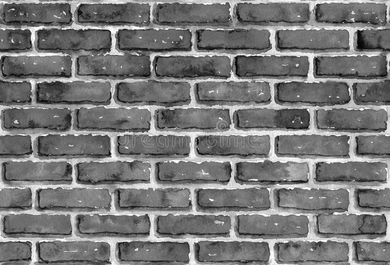 墙壁的砖接近的模式 黑白单色墨水或水彩背景 免版税库存图片