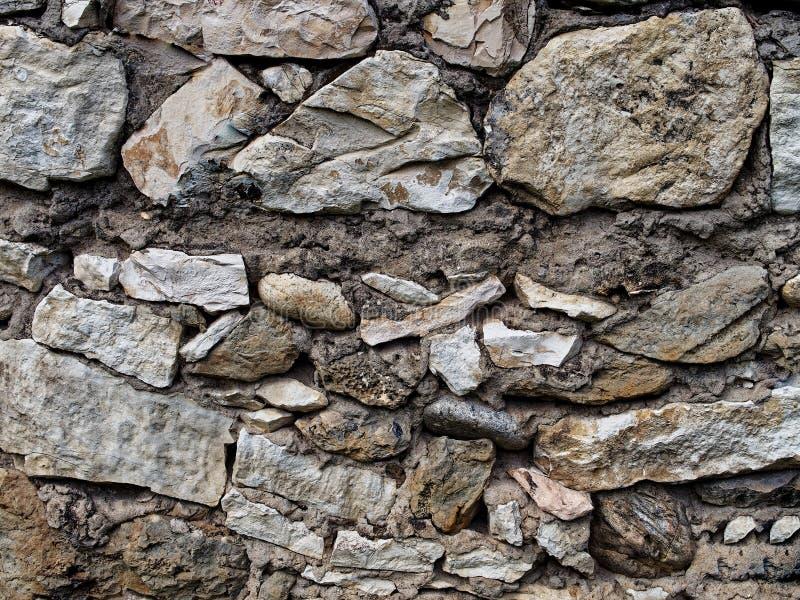 墙壁的花岗岩石头棕色灰色门面的织地不很细片段 免版税库存照片
