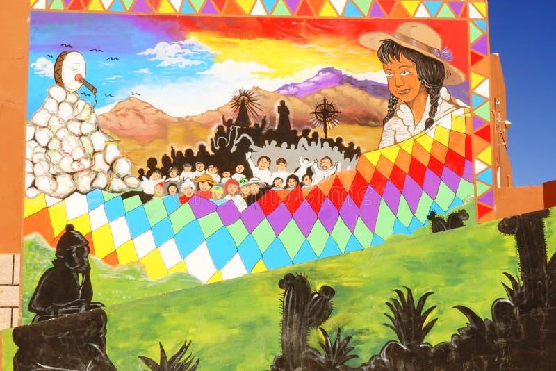 墙壁绘与普纳岛的图象 免版税图库摄影