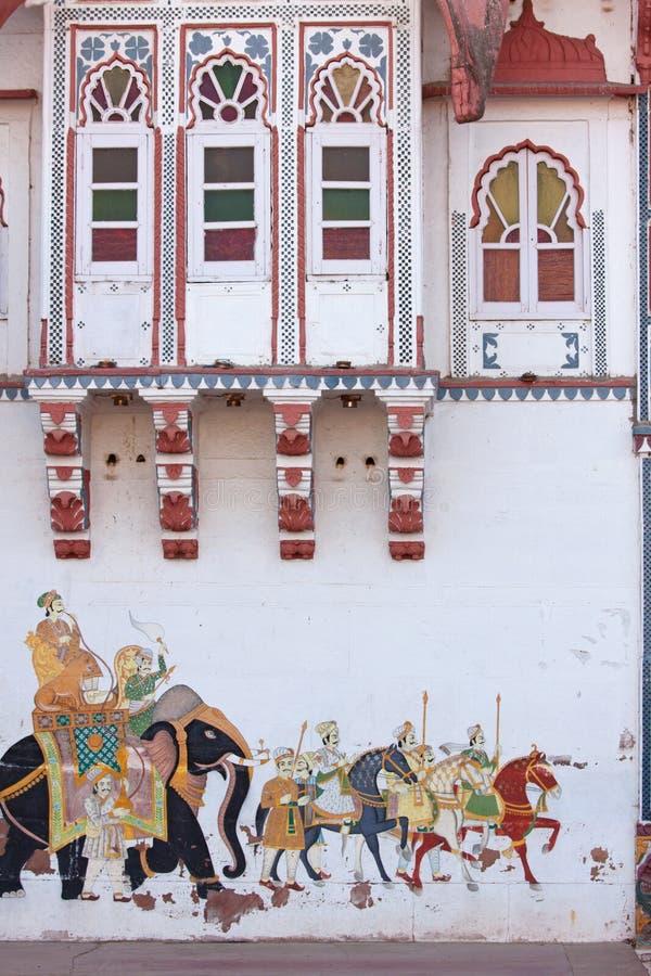 墙壁艺术在拉贾斯坦 免版税库存照片
