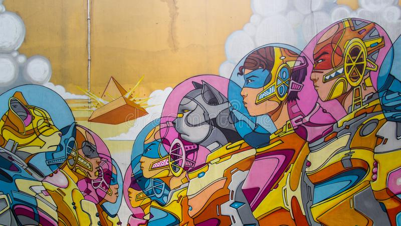 墙壁艺术在新加坡 免版税图库摄影