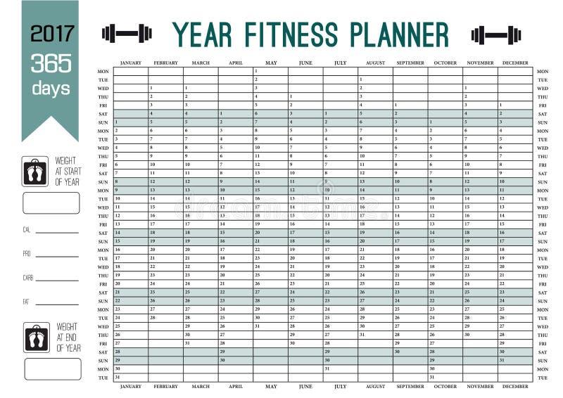 年墙壁计划者模板 计划您的与这本日历的整个健身 体育和饮食的传染媒介设计 库存例证