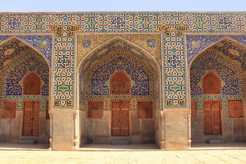 墙壁Shah清真寺(阿訇清真寺) Naqsh-e Jahan广场的在伊斯法罕市,伊朗 库存图片