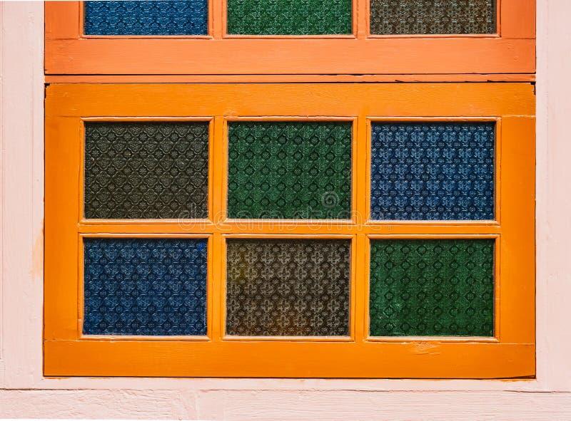 墙木复古风格,复古色玻璃 库存图片