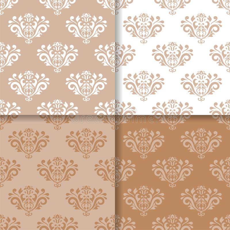 墙纸套与花饰的棕色米黄无缝的样式 皇族释放例证