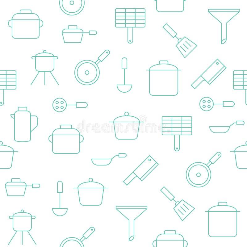 墙纸或包裹pape的厨房用具无缝的样式 向量例证