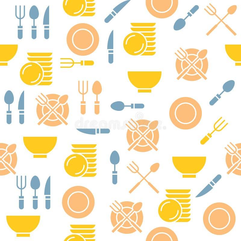 墙纸或印刷品的厨房用具无缝的样式在套 库存例证