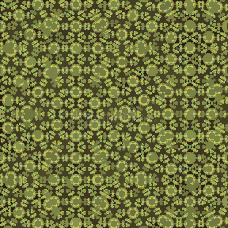 墙纸或纺织品设计的抽象连续的马赛克样式 橄榄色和绿色 E 库存例证
