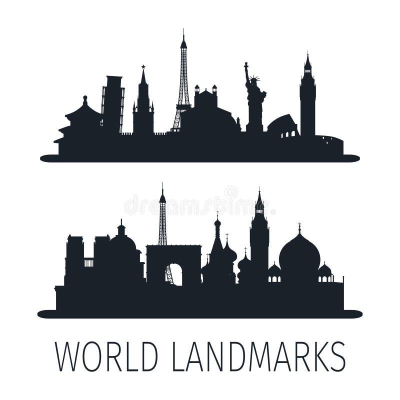 墙纸的世界地标被隔绝的剪影 向量例证