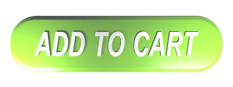 增加到推车被环绕的长方形绿色按钮- 3D翻译 向量例证