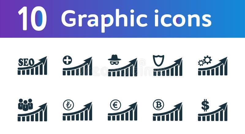 增加图表象集合 UI和UX 优质质量标志收藏 增量图表象设置了简单的元素用于a 皇族释放例证