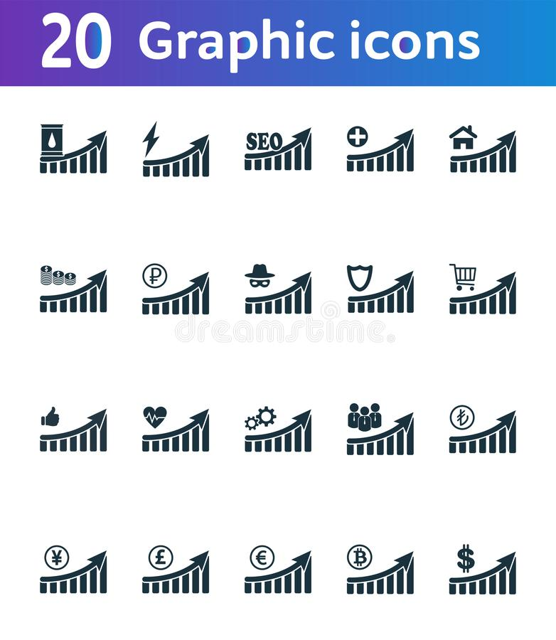 增加图表象集合 UI和UX 优质质量标志收藏 增量图表象设置了简单的元素用于a 库存例证