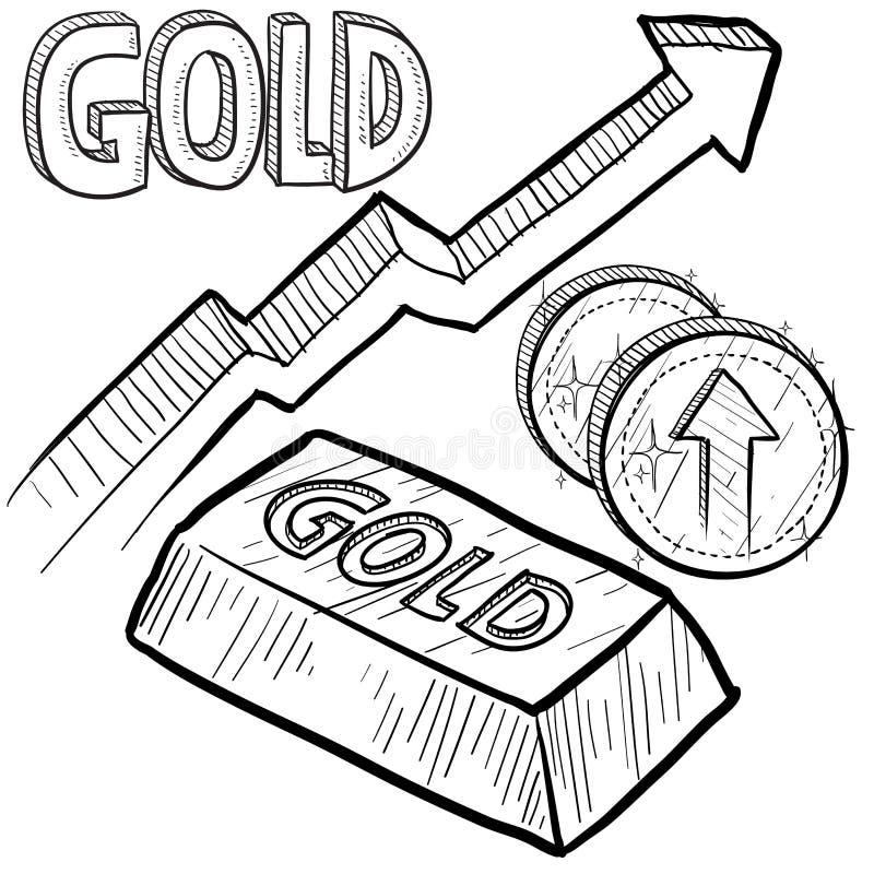 增加草图的黄金价格 皇族释放例证