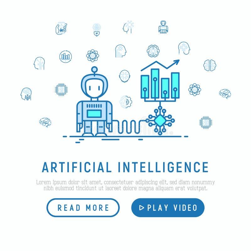 增加赢利的人工智能帮助 库存例证