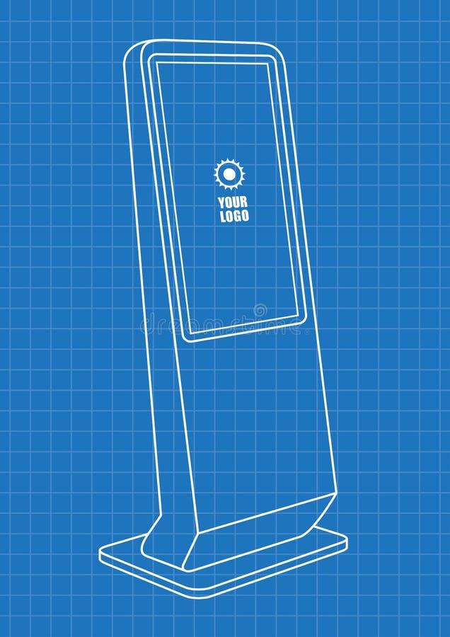 增进交互式信息问讯处图纸,给显示做广告,终端立场,屏幕显示 皇族释放例证