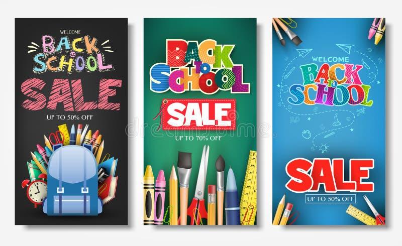 增进垂直的海报和横幅送回与到学校销售文本标题创造性的样式  向量例证