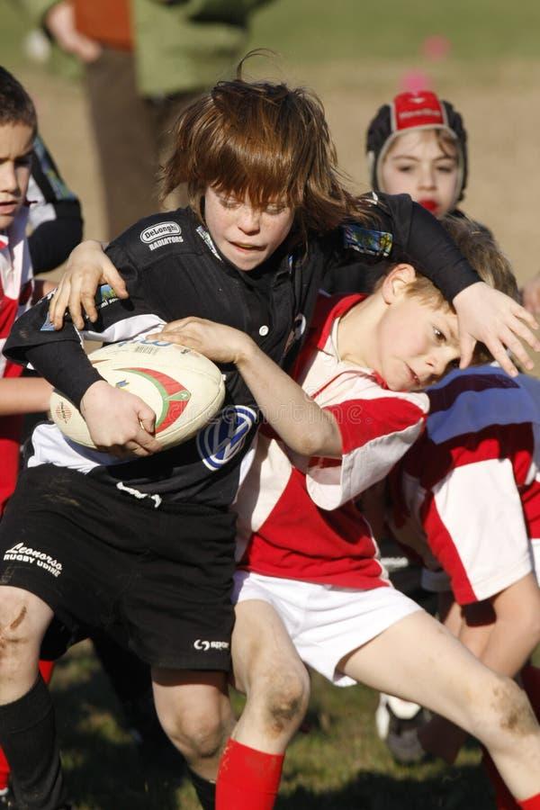 增进橄榄球比赛青年时期 免版税库存照片